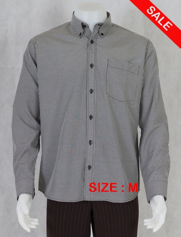 This Shirt Only Long-Sleeve Small  Gingham Black Color Shirt