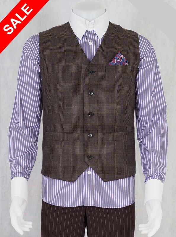 Only This Waistcoat.Brown Prince Of Wales Waistcoat 38R