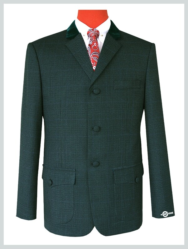 Olive Green Pow Check Patch Pocket Tweed Jacket