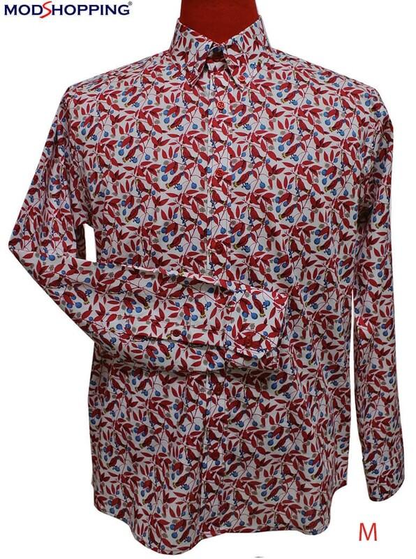 This Shirt Only Men's Paisley Shirt Red Floral Shirt Size Medium