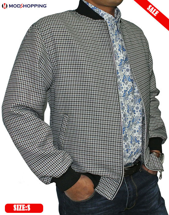This Jacket Only Dogtooth Grey Bomber Jacket 38R.