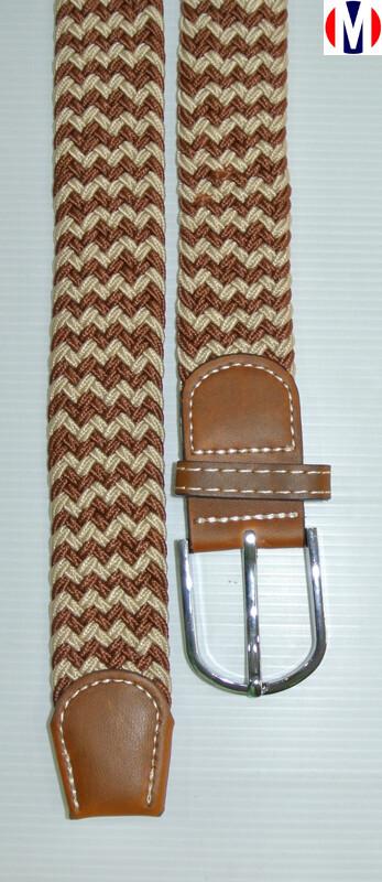 Woven Belts  Brown Herringbone Elasticated Woven Belts