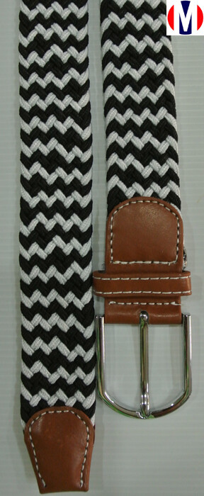 Woven Belts Black White Elasticated Woven Belts
