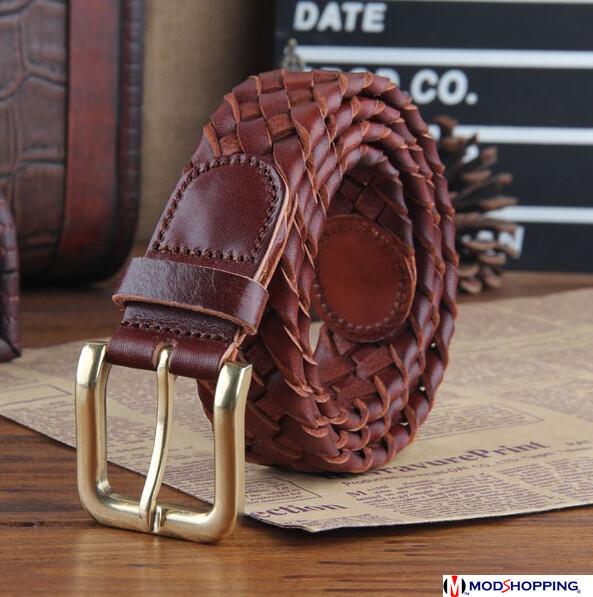 Handmade Basket Pattern Brown Vintage Leather Belt