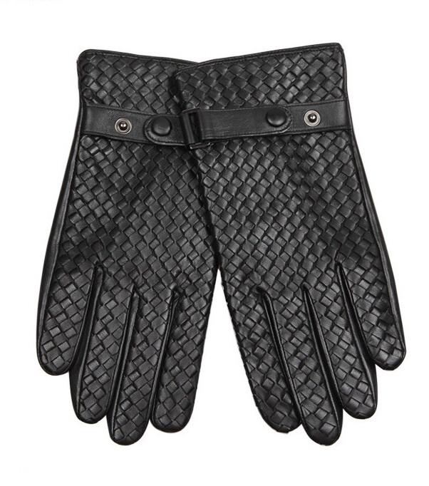 Sheepskin Men Winter Warm Black Leather Gloves Size S