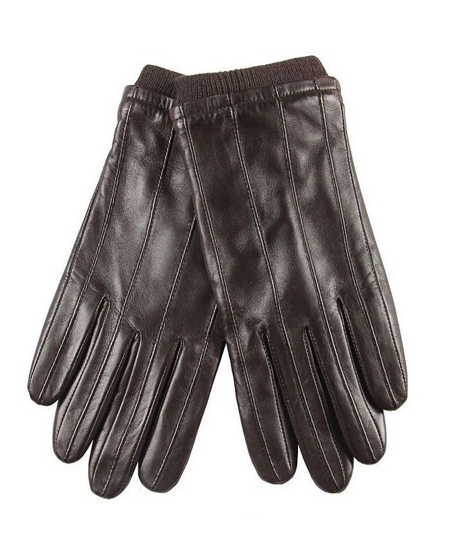 Winter Gloves| Lambskin Leather Men Winter Warm Brown Leather Gloves Size S