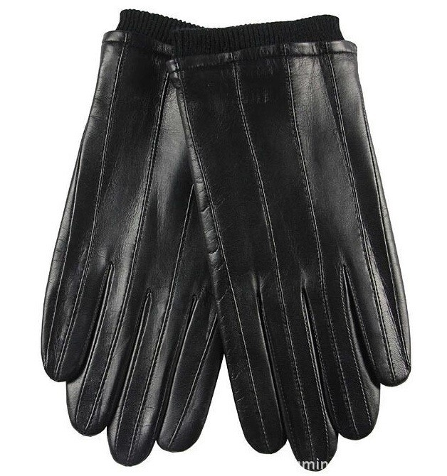 Lambskin Leather Men Winter Warm Black Leather Gloves Size M