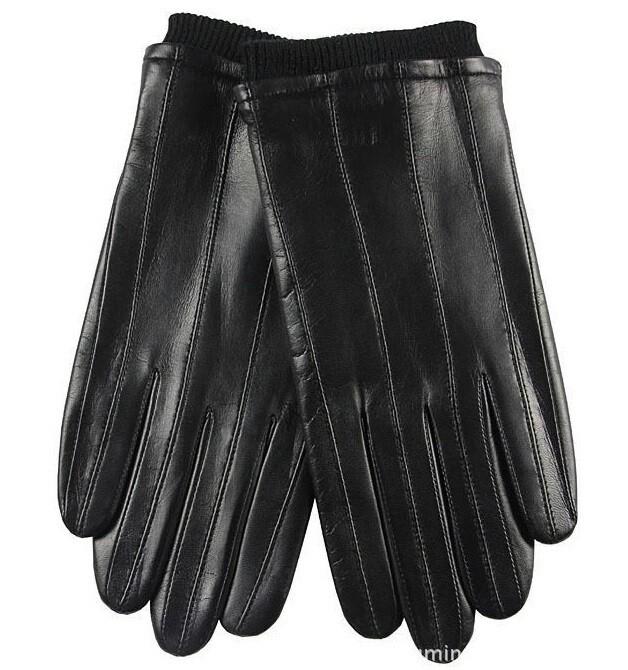 Lambskin Leather Men Winter Warm Black Leather Gloves Size L