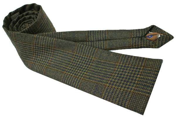 Prince Of Wales Check Brown Pow Wool Narrow Tie For Men