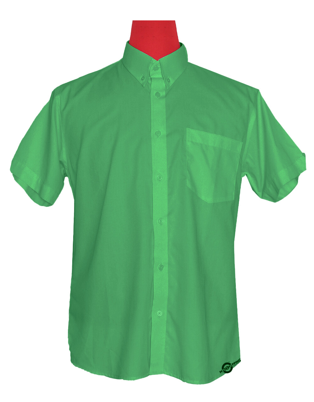 Short-Sleeve Shirt | 60S Mod Style Green Color Shirt For Man