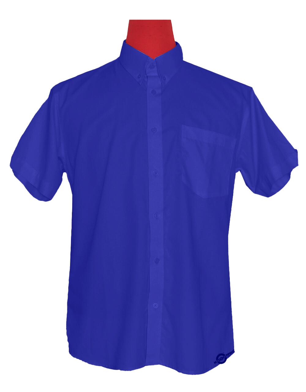Short-Sleeve Shirt | 60S Mod Style Blue Color Shirt For Man