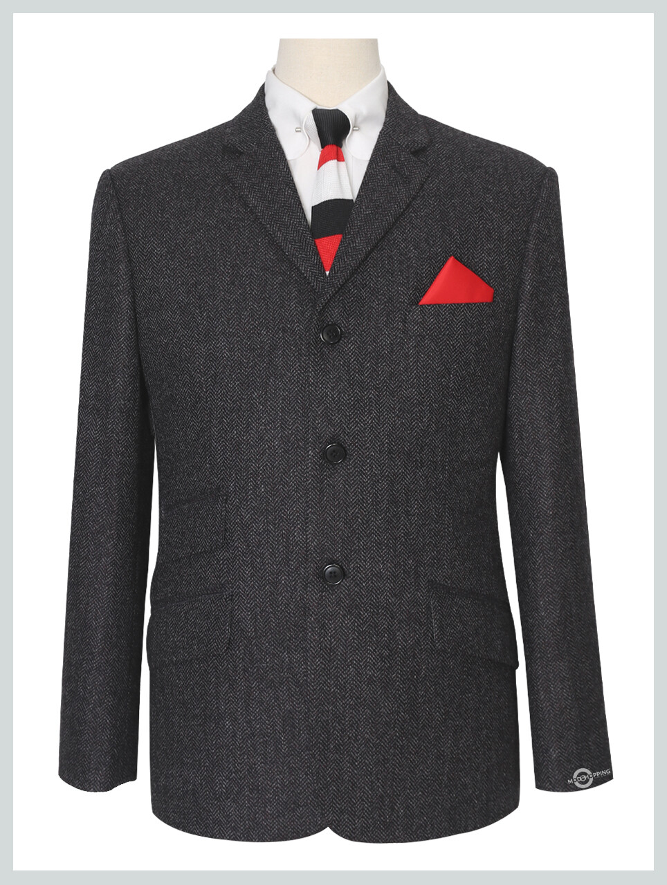 Tweed Charcoal Grey Mod Jacket 3 Button For Men