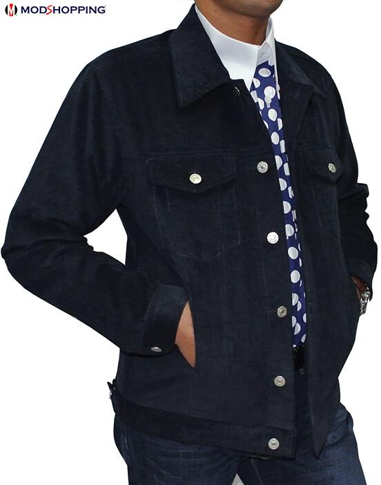Vintage Navy Blue Corduroy Harrington Jacket