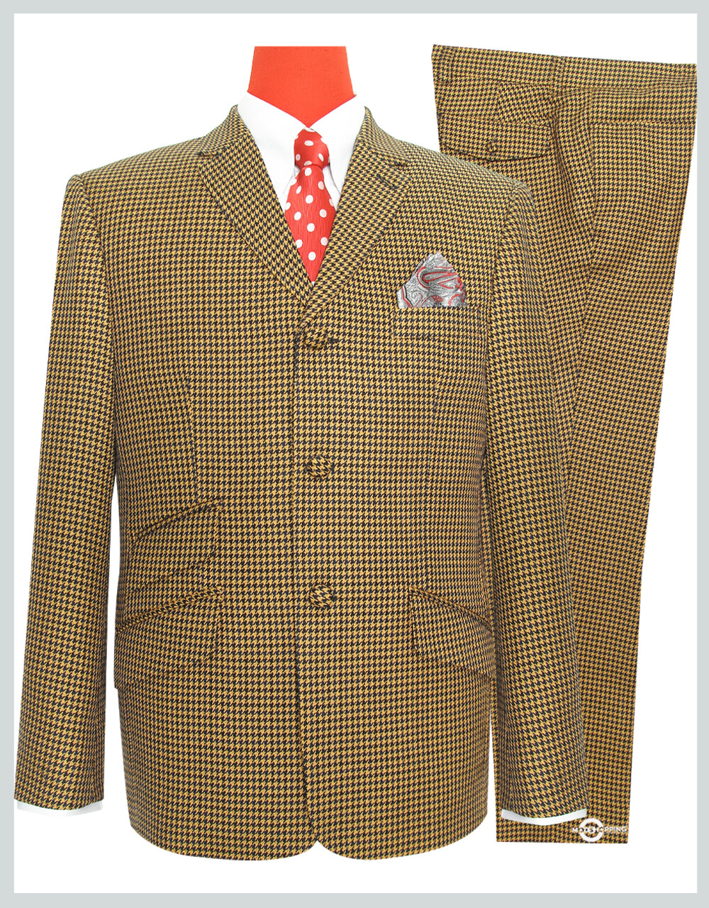 Brown & Black Houndstooth 3 Button Mod Suit
