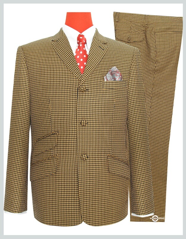 Houndstooth 3 Button Mod Suit For Men