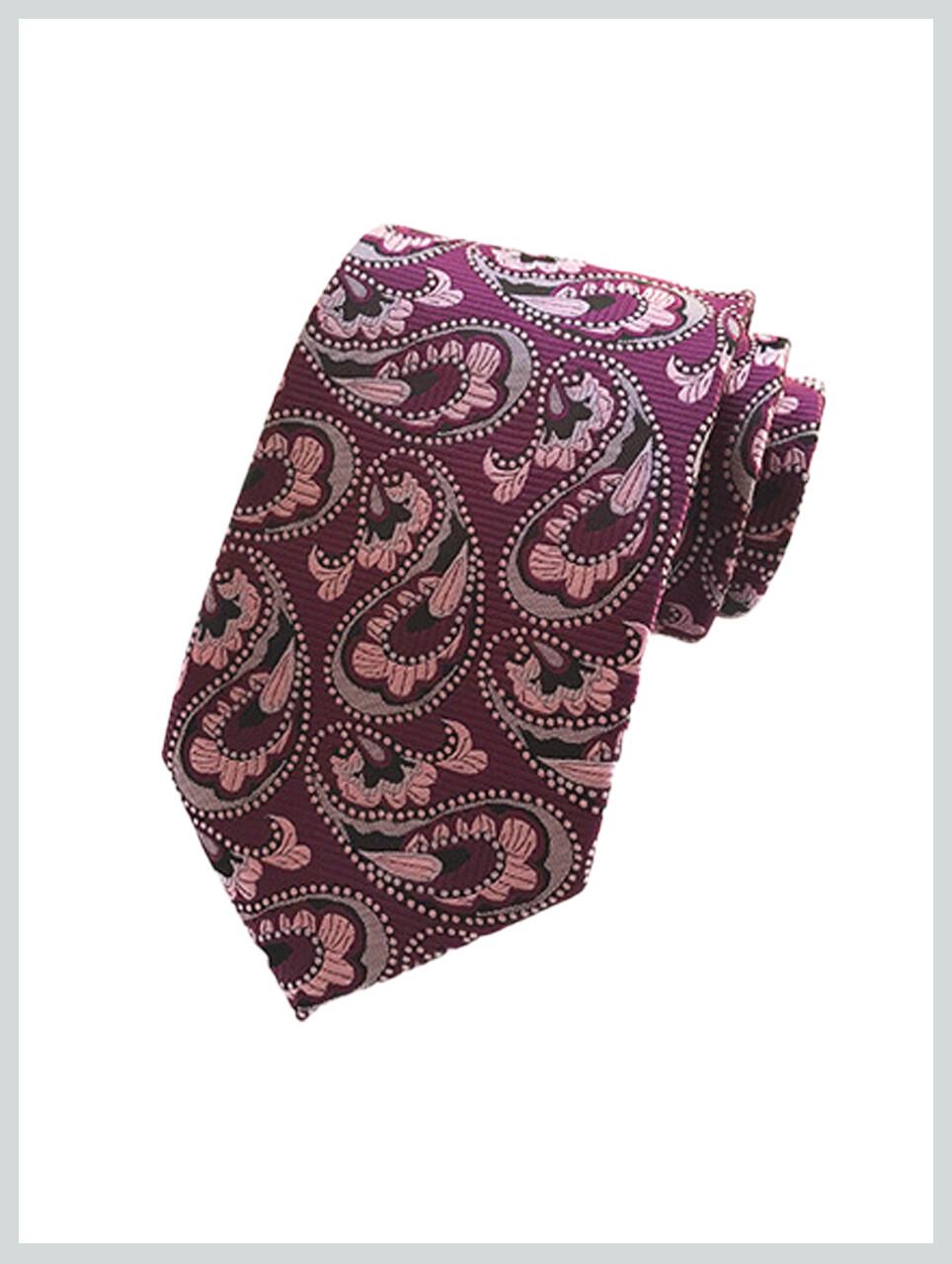 Knitted Tie | Purple Paisley Tie