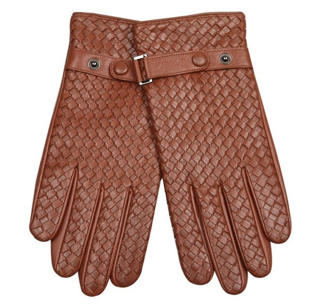 Winter Warm Tan Leather Gloves Size M