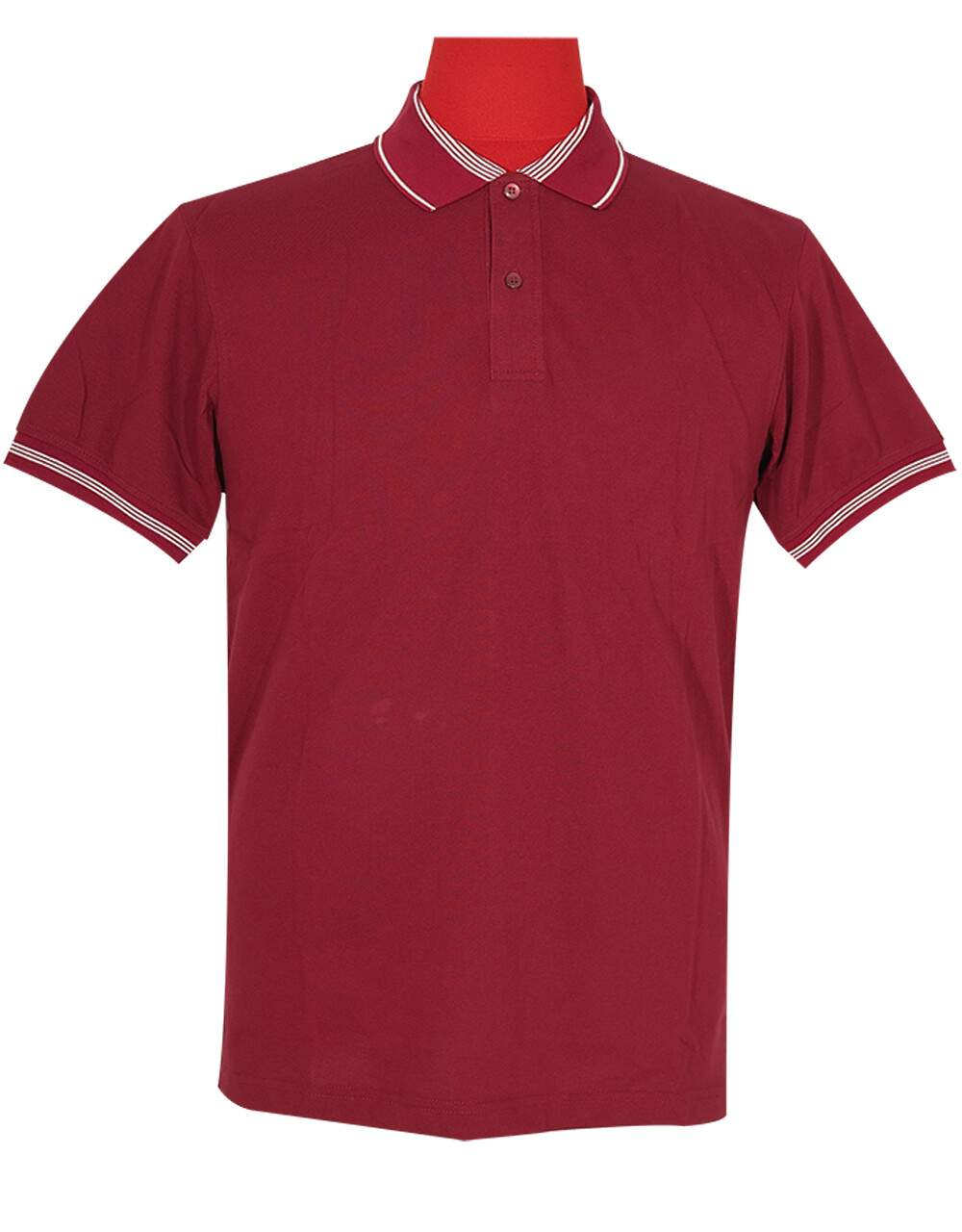 Polo Shirt Fabric Cool Plus Burgundy Color.