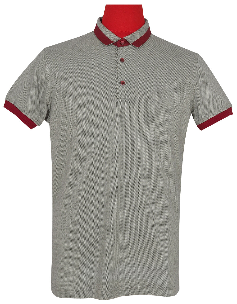 Polo Shirt Fabric Cool Plus Short Sleeve Colour Grey & Burgundy Polo Shirt.