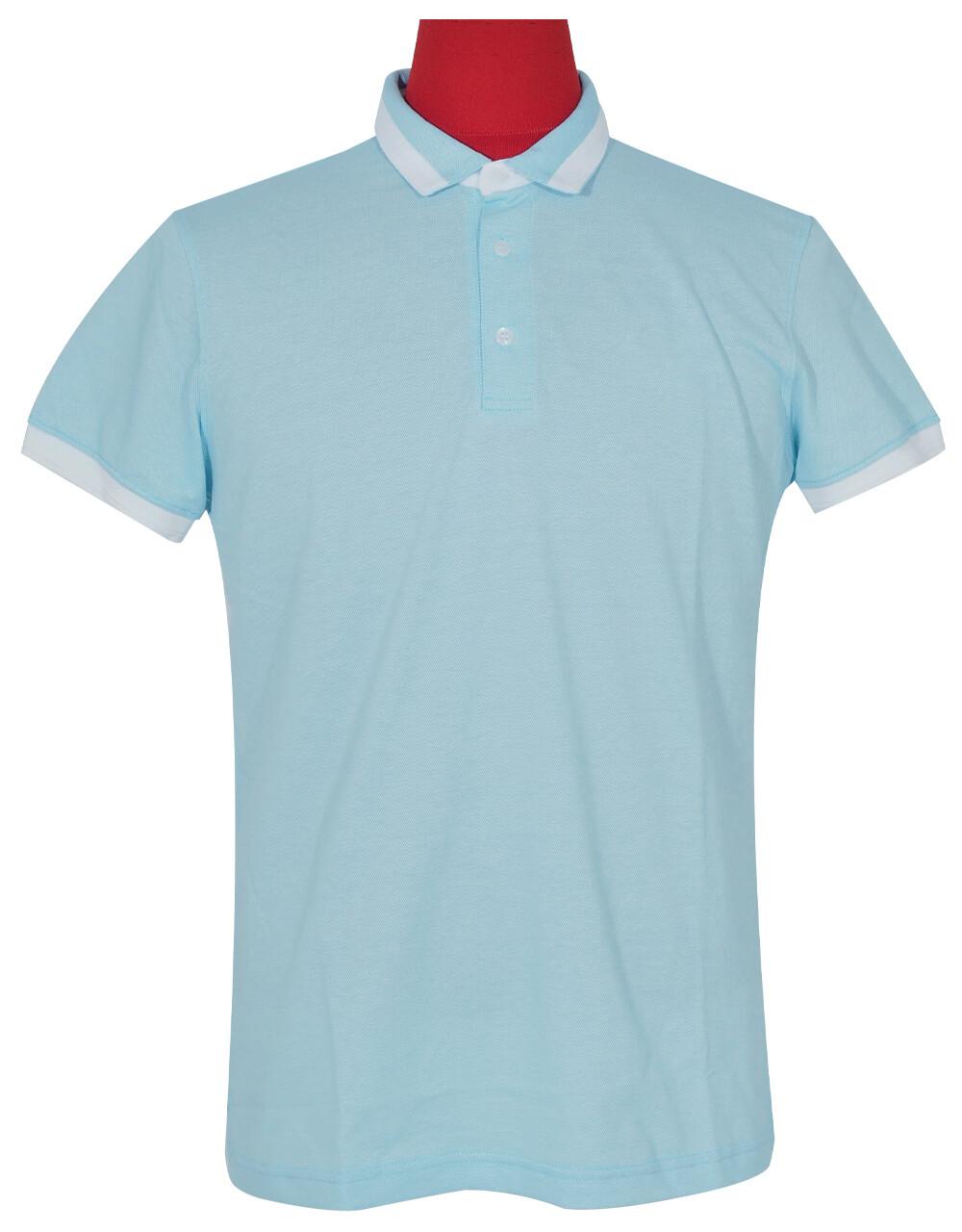 Polo Shirt Fabric Cool Plus Short Sleeve Sky Blue Polo Shirt.