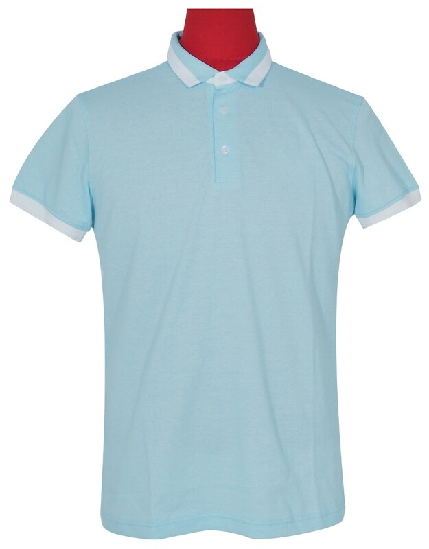 Polo Shirt Fabric Cool Plus Short Sleeve Sky Blue Polo Shirt.