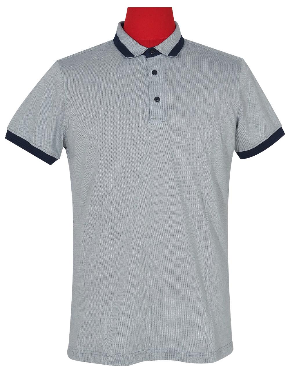 Polo Shirt Fabric Cool Plus Short Sleeve Colour Blue & Navy Blue Polo Shirt.