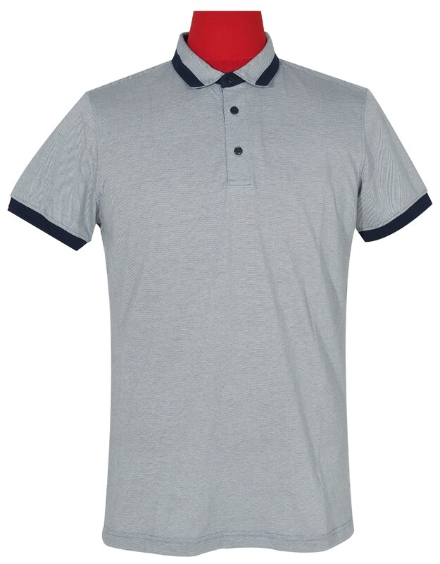 Polo Shirt Fabric Cool Plus Short Sleeve Colour Blue & Navy Blue Polo Shirt.