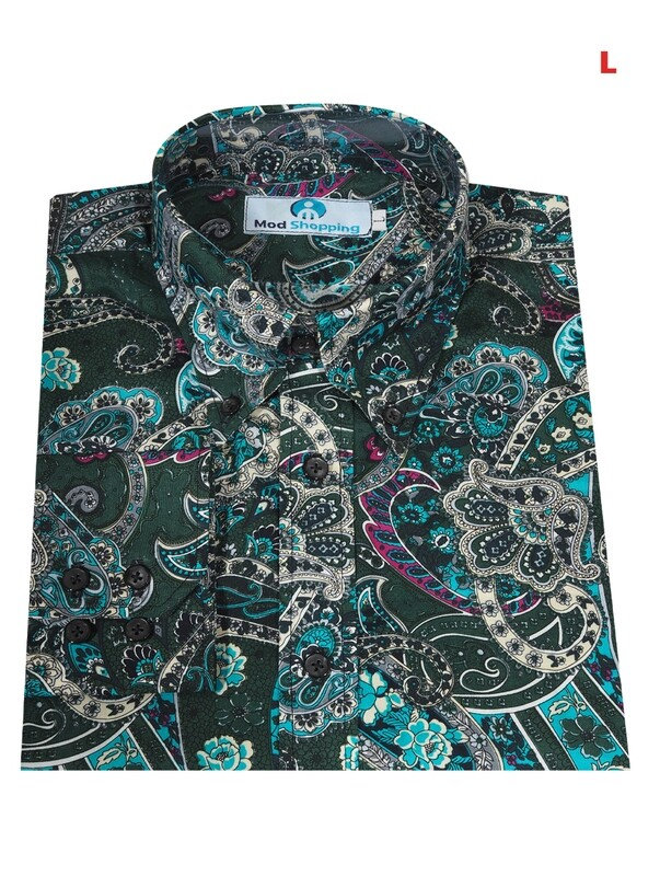 This Shirt Only Paisley Green Multi-Color Shirt