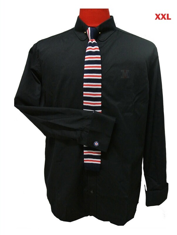 This Shirt Only. Black 60's Vintage Mod Style Penny Collar Shirt