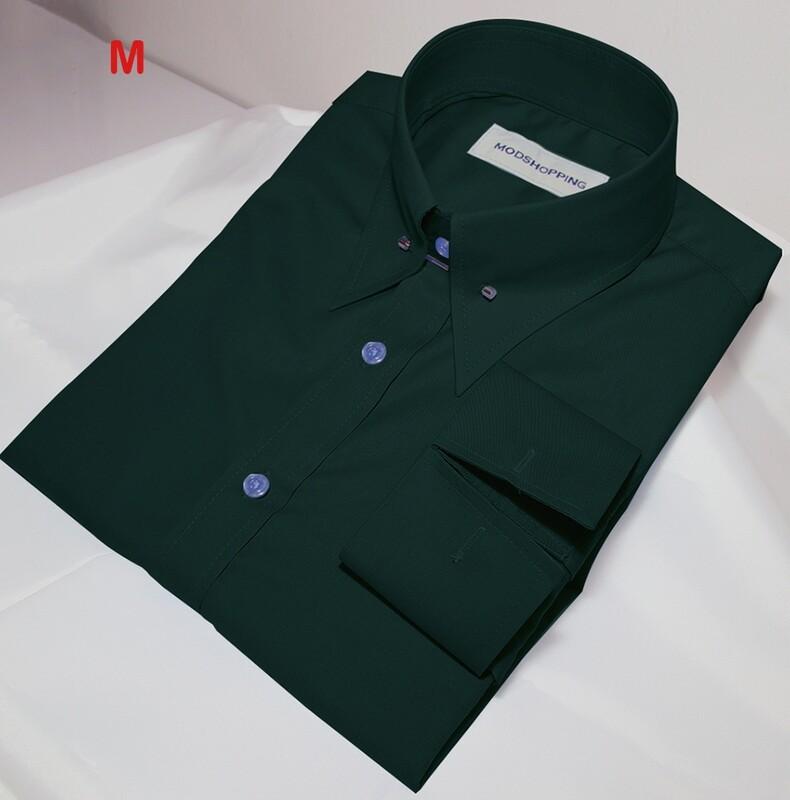This Shirt Only Dark Green Pin Collar Shirt.