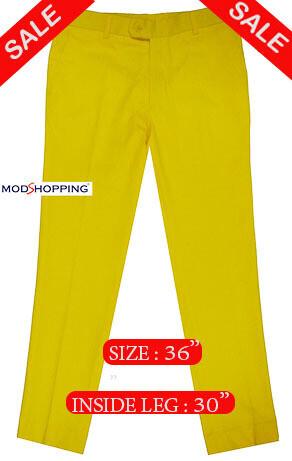 Sta Press Trousers Slim Fit Cotton Yellow Trouser