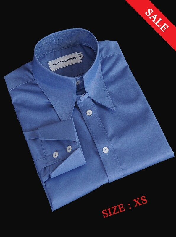 This Shirt Only Vintage Style Sky Blue Long Collar