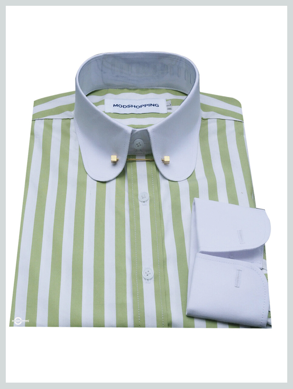 This Shirt Only Green White Stripe Peny Pin Collar Shirt