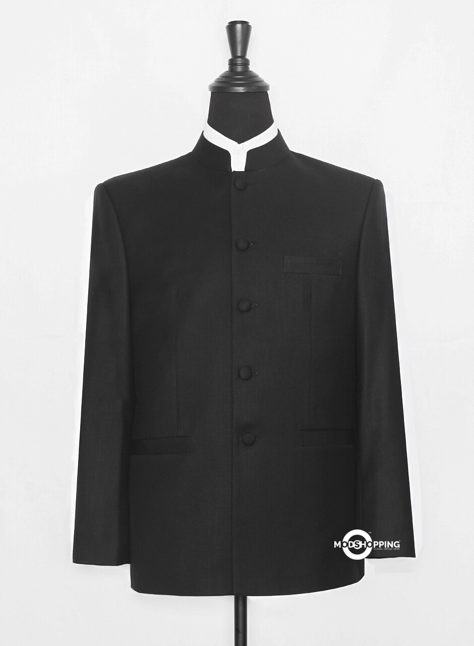Black Nehru Collar Jacket For Men's.