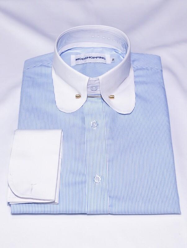 Penny Pin Collar Sky Blue Shirt For Man