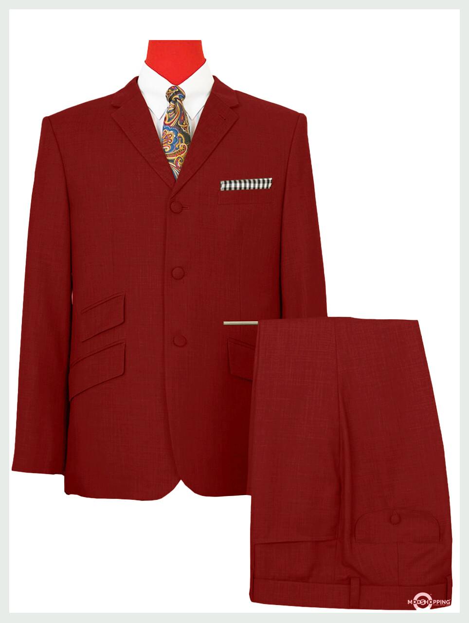 Mod Suit   Red Plain Color 3 Button Suit
