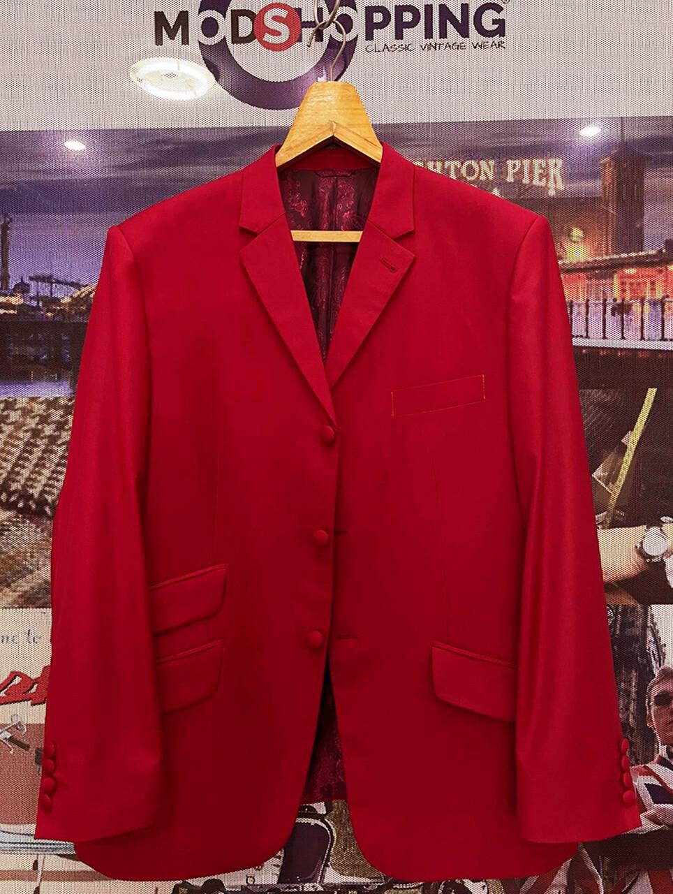 Red Blazers Tailored 3 Button Mod Blazer Jacket
