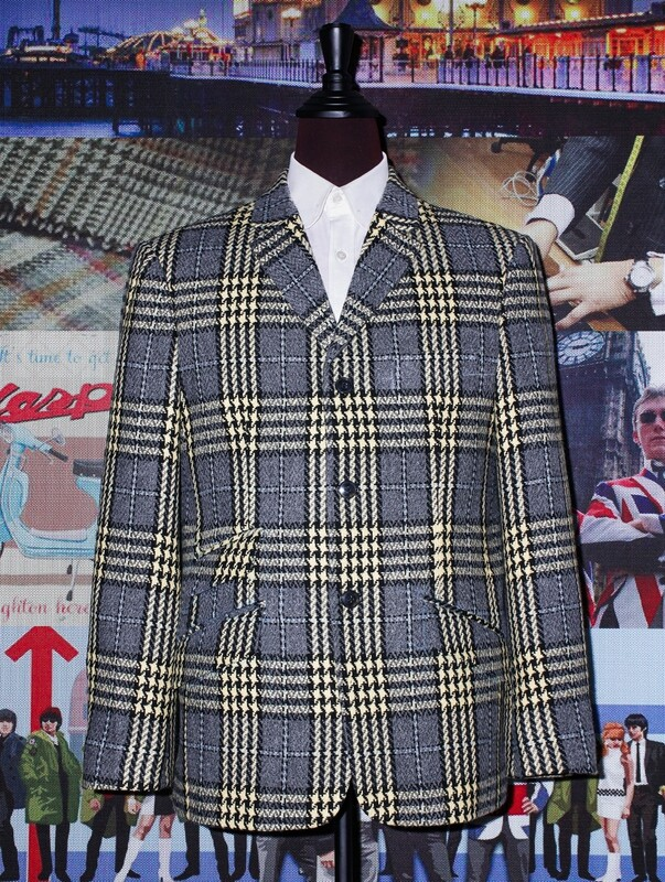 Grey And Pale Yellow Check Blazer Men's.