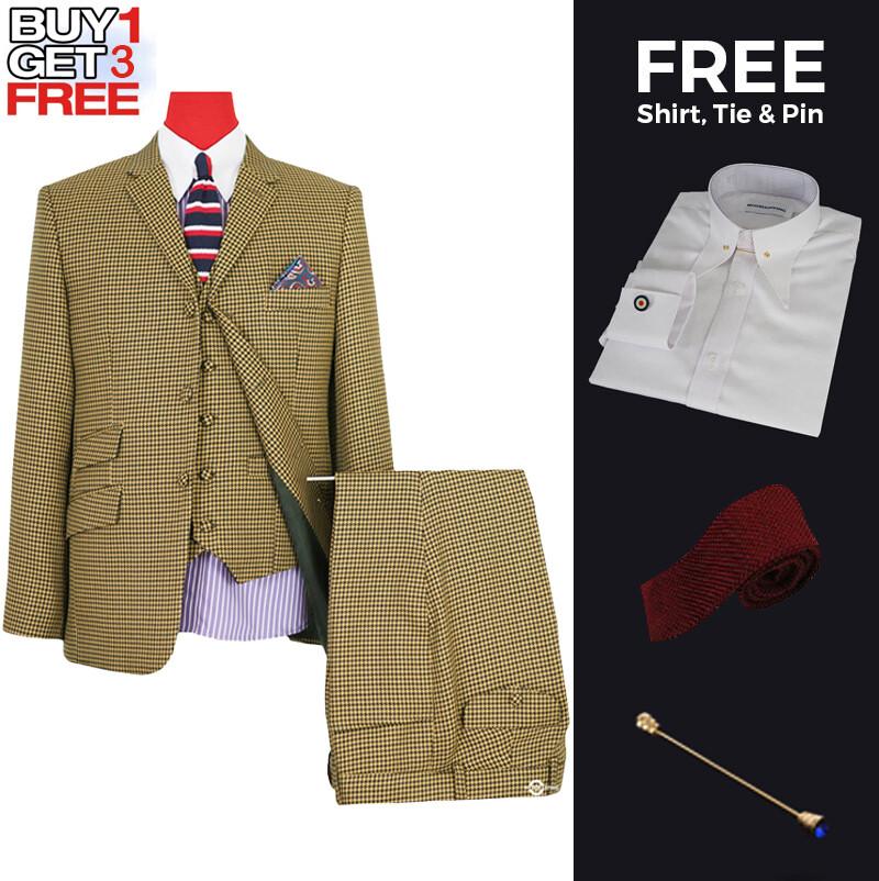 Suit Deals| Uk Mod Clothing Suit Deals, Buy 1 Houndstooth Brown Suit Get 3 Free.