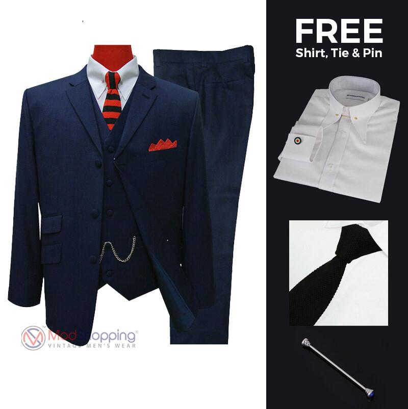 Suit Deals | Buy 1 (60s Mod Suit 3 Button Tailored Suit) & Get Free 3 Products