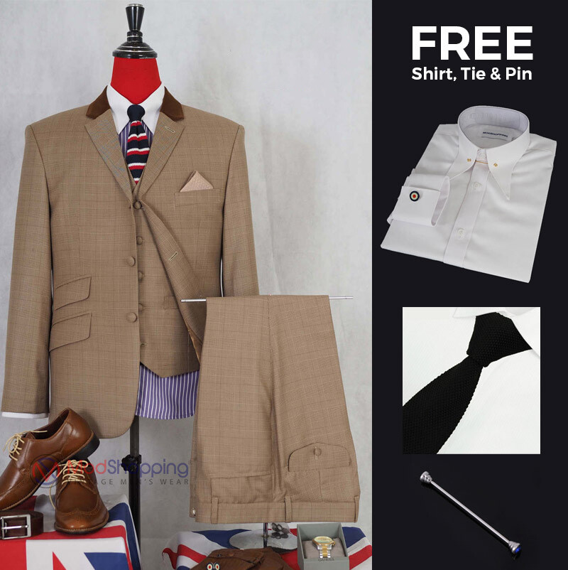 Suit Deals| Buy 1 (Prince Of Wales Brown Mod Fashion Men's 3 Piece Suit) & Get Free 3 Products