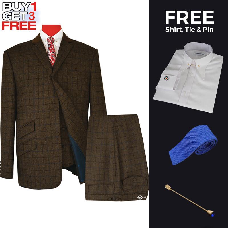 Suit Deals| Uk Mod Clothing Suit Deals, Buy 1 Coffee Brown Suit Get 3 Free