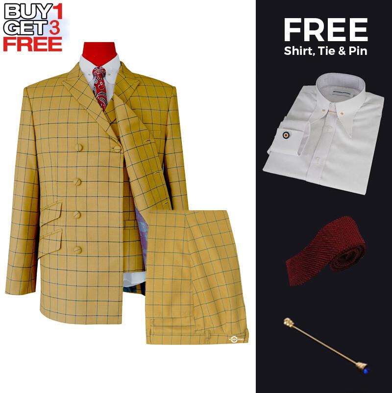 Suit Deals  Uk Mod Clothing Suit Deals, Buy 1 Double Breasted Sunflower Suit Get 3 Free