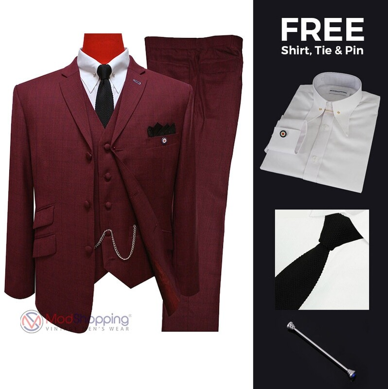 Suit deals| Buy 1 (burgundy 60s mod 3 button three piece suit) & get free 3 products
