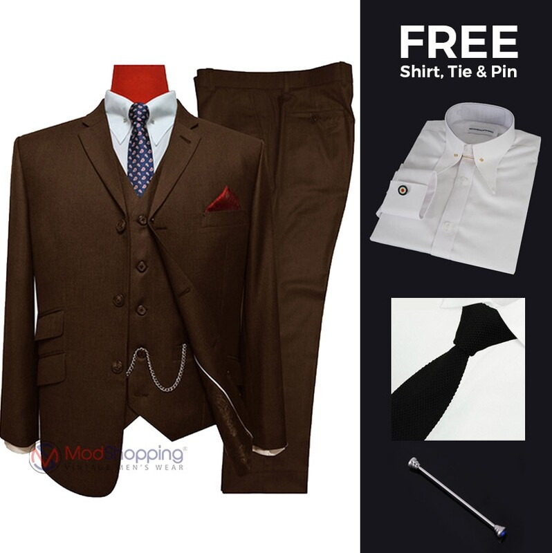 Suit Deals | Buy 1 (Dark Brown Retro Mod 3 Button Tailored Suit) & Get Free 3 Products