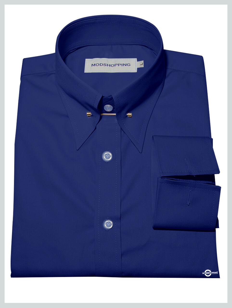 Blue Pin High Collar Shirt