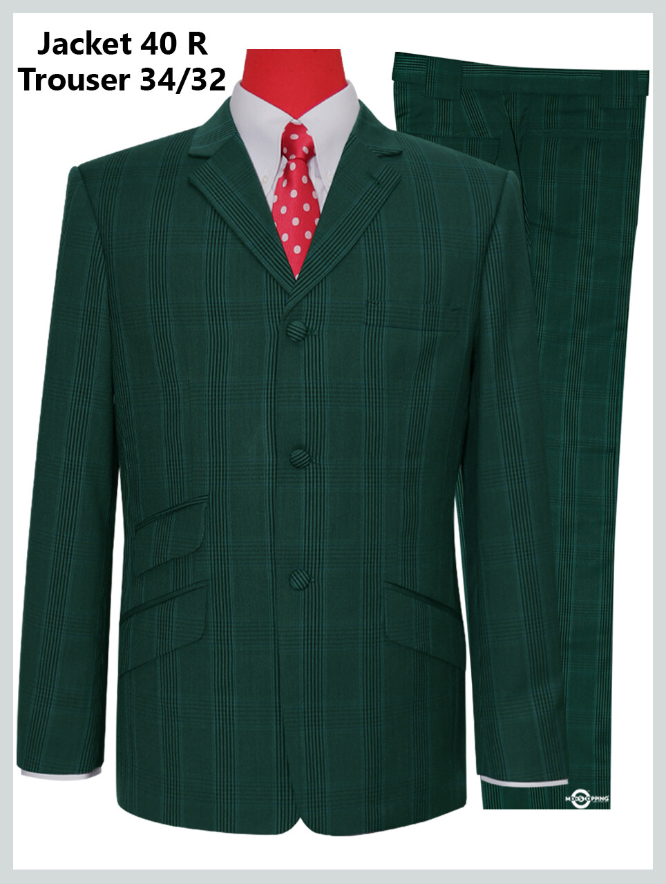 Olive Green Color Prince Of Wales Check  Suit Jacket 40R & 34/32 Trouser