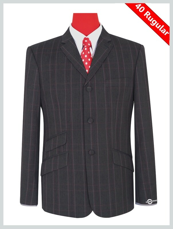 Charcoal Grey Prince Of Wales Check Suit 40R Jacket