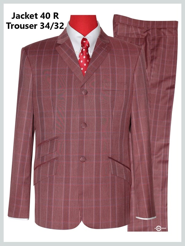 Burnt Red Color Prince Of Wales Check  Suit Jacket 40R & 34/32 Trouser