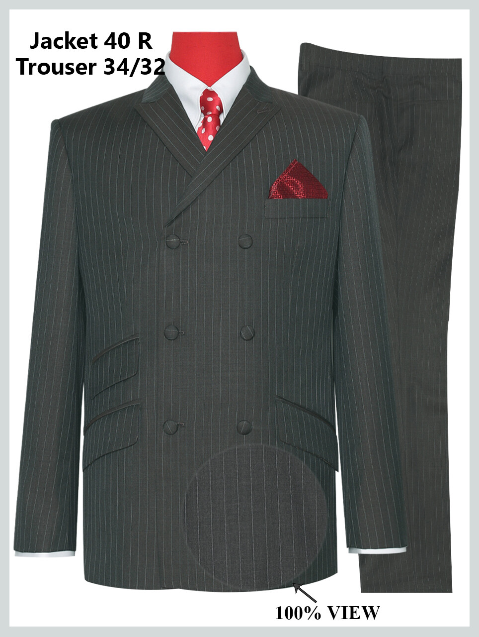 Double Breasted Pale Brown Striped Suit Jacket 40R & 34/32 Trouser